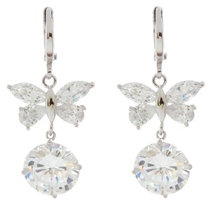 Other Rhodium Silver Plated Blossom Butterfly CZ Clear Stone Dangle Earrings