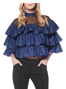 Gracia Ruffle Burgundy Top denim