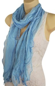 Classic Soft Fabric Neck Tie Scarf Long Necklace Wave Sky Blue