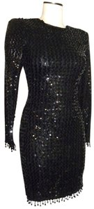 Karen Okada Vintage Structured Beaded Avant Garde Bodycon Dress