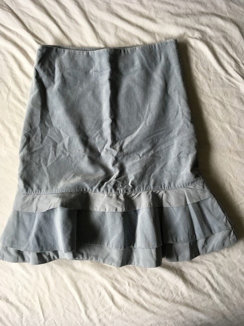 Anthropologie Velvet Bow Ruffle Feminine Ribbon Skirt blue