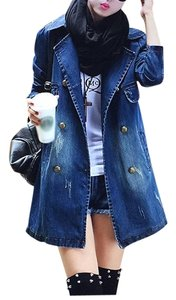 Other Double Breasted Notch Faded Denim Classic Look Deep Front Pockets Pea Coat
