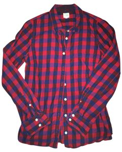 J.Crew Flannel Button Down Button Down Shirt red