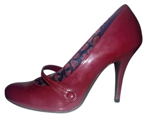 American Eagle Outfitters Faux Patent Heels Mary Jane Red Burgundy Pumps