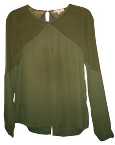 1.STATE Sheer Machine Washable Dressy Top olive green