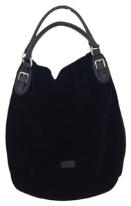 Max Mara Velvet Fold Over Laptop Tote in Black