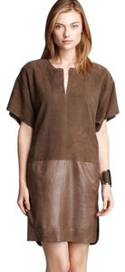Vince Leather Suede Shift Tunic Dress