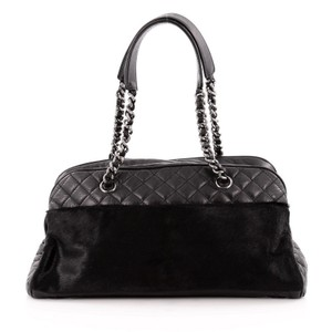Chanel Calfskin Pony Hair Satchel in Black