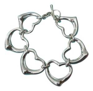 Tiffany & Co. STERLING SILVER XL OPEN HEARTS TOGGLE BRACELET 7.75