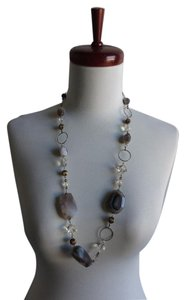 Long Chunky Agate Stone Gray Silver Crystal Link Metal Necklace