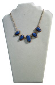 My Style ACN6788DG blue 5 stone scalloped necklace