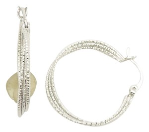 Other Sparkling Tiered Wave Silver Plated Rhodium Small Hoop Earrings