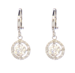 Rhodium Silver Drop Pendullum CZ Clear Stones Round Drop Earrings