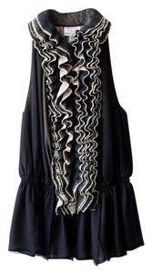 Robert Rodriguez Ruffle Peplum Sleeveless Top black and taupe