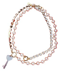 Coach COACH goldstone and silver tone, pears heart necklace,key charms
