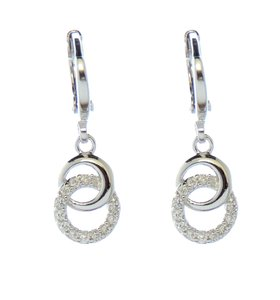 Rhodium Silver Zirconia Infinity Hanging Leverback Earrings