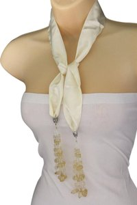 Other New Women Cream Off White Silk Thin Solid With Long Fringe Beads