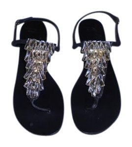 Giuseppe Zanotti Fabulous Design Swarovski Crystals Bright Sparkle Made In Italy Black Sandals