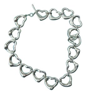 Tiffany & Co. Silver Peretti Open Heart Link Toggle Bracelet 7.5