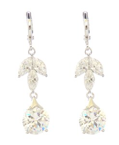 Clarity Petal Floral Cubic Zirconia Drop Dangle Leverback Earrings