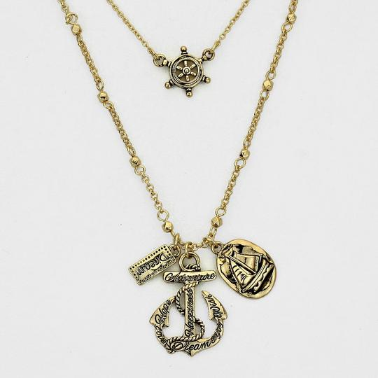 Other Vintage Nautical Helm Anchor Charms Double Chain Gold Necklace