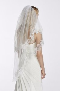 David's Bridal White Medium Lace Edge Bridal Veil