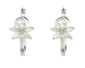 Shining CZ Clear Stone Rhodium Silver Cluster Flower Earrings