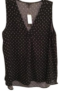 Ann Taylor Top Navy with white print