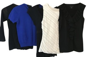 Ann Taylor Silk Banana Republic Top Assorted - Black - White- Blue