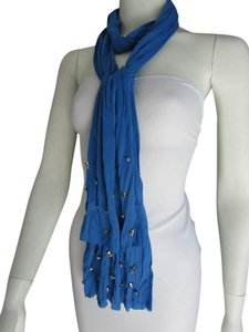 TRENDY SOFT FABRIC BLUE SCARF LONG NECKLACE SILVER METAL STARS STUDS