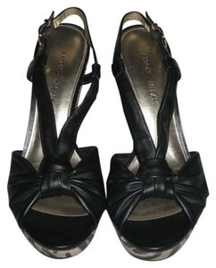 Antonio Melani Leather Black Wedges