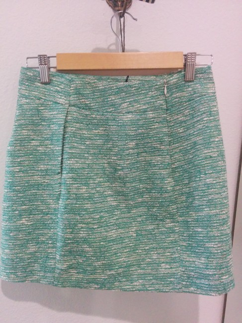 Zara Tweed Aqua Textured Mini Mini Skirt Teal and Cream/White