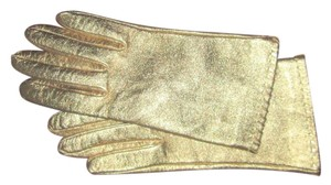 Burberry gold lame gloves