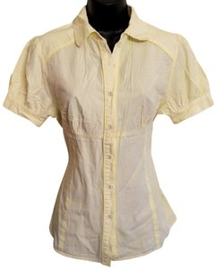 Charlotte Russe Tailored Blouse Pinstripe Cotton Button Down Shirt Yellow