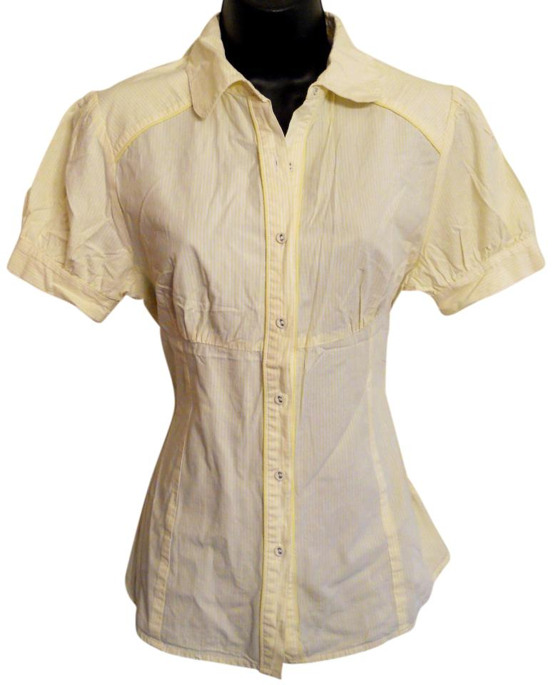 Charlotte russe yellow tailored button front blouse button for Custom dress shirts charlotte nc
