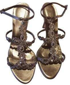Ramon Tenza Leather Crystal Evening Sandals