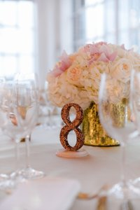 Rose Gold Glitter Table Numbers #s 1-15
