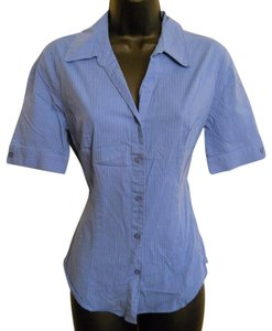 SO Pinstripe Tailored Top Blue