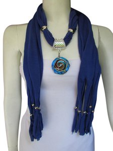 BLUE FABRIC SCARF LONG NECKLACE BIG ROUND GLASS SWIRL PENDANT CHARM