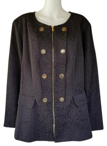 Denim 24/7 Jacquard Zip Front Coat Black Jacket
