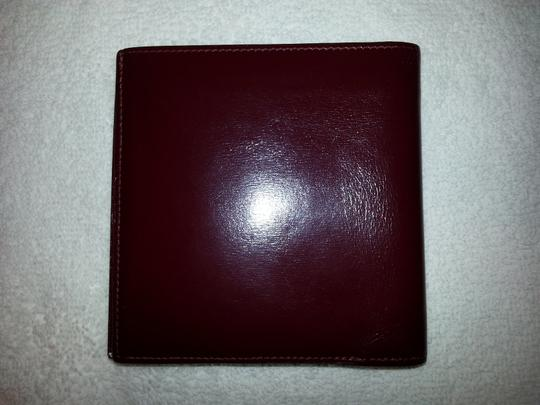 Hermès Hermes,Burgundy,Leather,Bifold,Wallet
