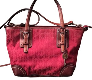 Fossil Satchel in Red canvas with brown leather trim