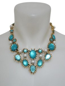 Oscar de la Renta Turquoise Cabochon Crystal Necklace NEW