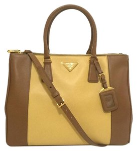 Prada Saffiano Leather Satchel in Brown/Beige