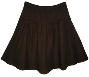 Theory Cotton Voile Tiered Brown Skirt
