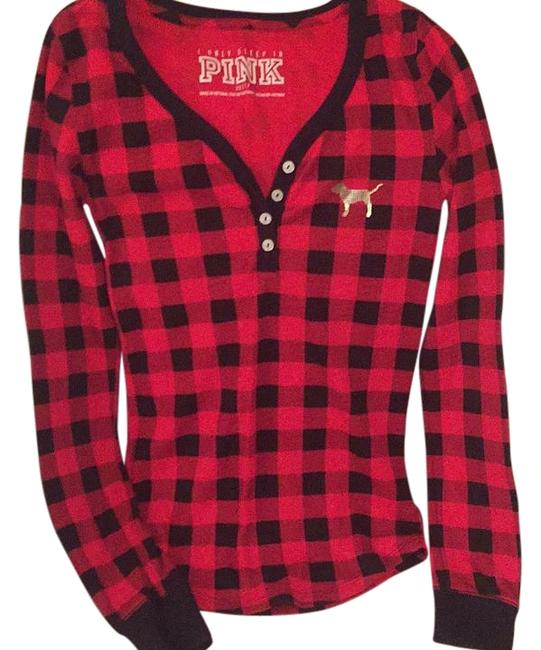 Item - Black Red Silver Doggie Preppy Lumber Jack Checkered Tee Shirt Size 2 (XS)