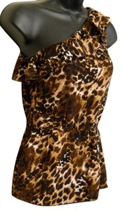 Hot Tempered Animal Print One Shoulder Ruffle Tank Jungle Top Brown