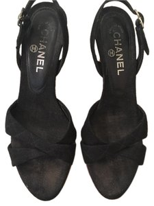 Chanel Channel Sandal Black Wedges
