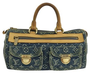 Louis Vuitton Lv Denim Monogram Blue Satchel