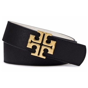 Tory Burch York Reversible Saffiano Leather Belt, Black/New Ivory Size: Small